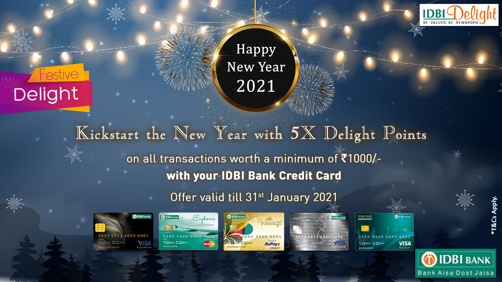 IDBI Bank ensures that you welcome the #NewYear with a big wide smile! And that wide smile definitely will come with 5x delight points when you shop with your IDBI Bank Credit Card!
