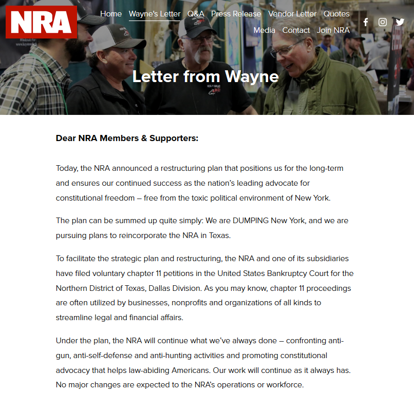 NEW: The NRA is filing for bankruptcy and moving to Texas in a major restructuring