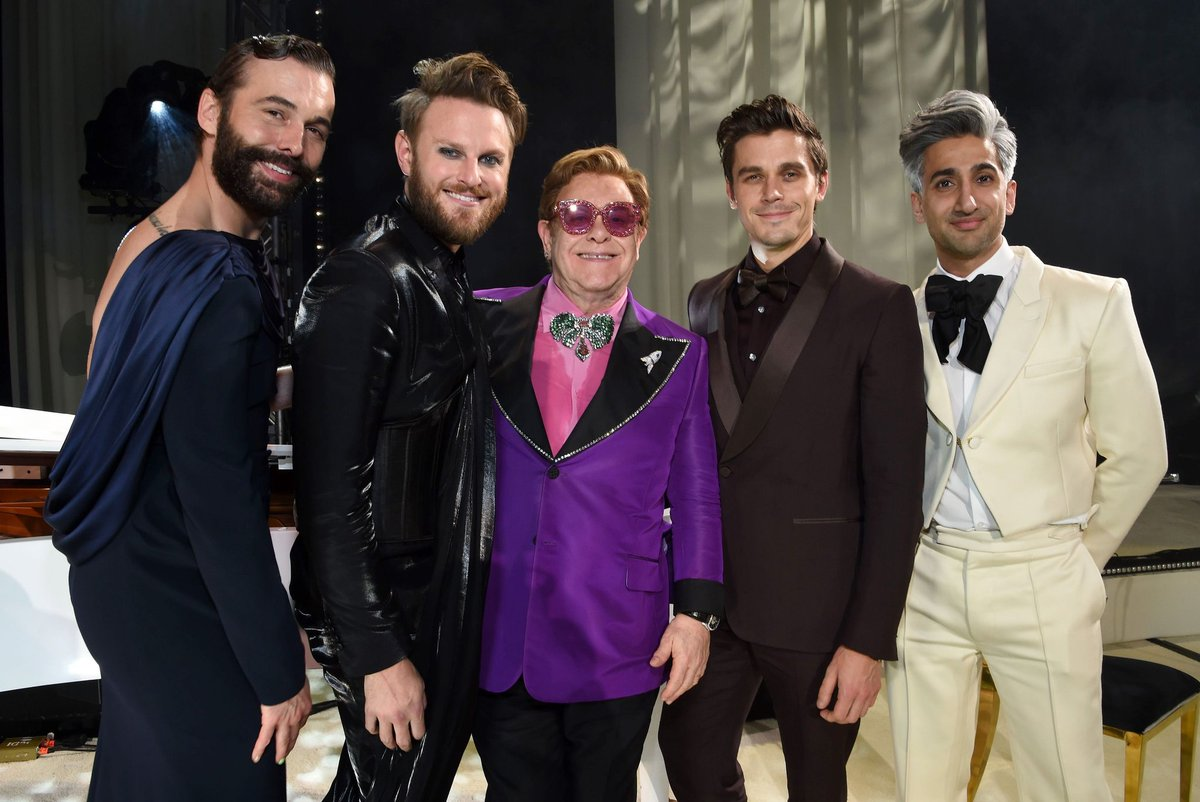 Each year, #EJAFOscars brings together supporters who help us raise vital funds so that we can continue to fund HIV care programmes all over the world.  Here's a throwback to last year with @jvn @bobbyberk @tanfrance @antoni @Karamo & @samfendermusic 🧡  📷Michael Kovac