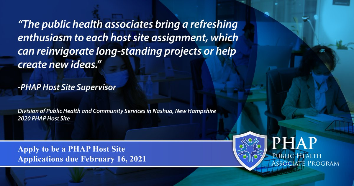 The Public Health Associate Program helps provide essential public health services to states and communities. Associates help fill gaps in #PublicHealth orgs affected by staffing shortages and budget cuts. Apply by 2/16 to host an associate: . #WeArePHAP