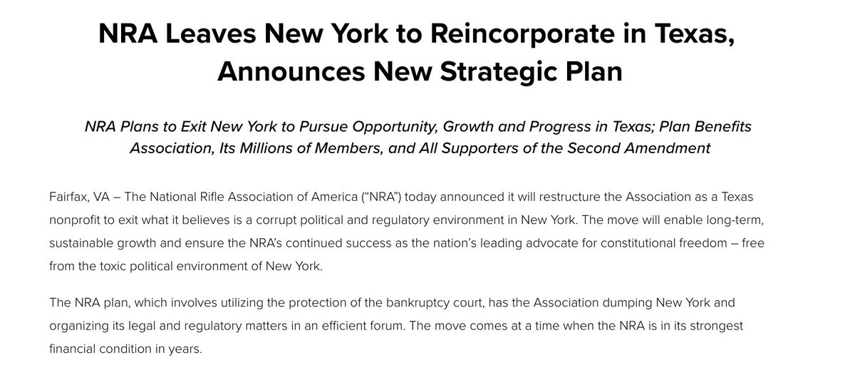 The NRA says it plans to file for bankruptcy and relocate from New York to Texas.