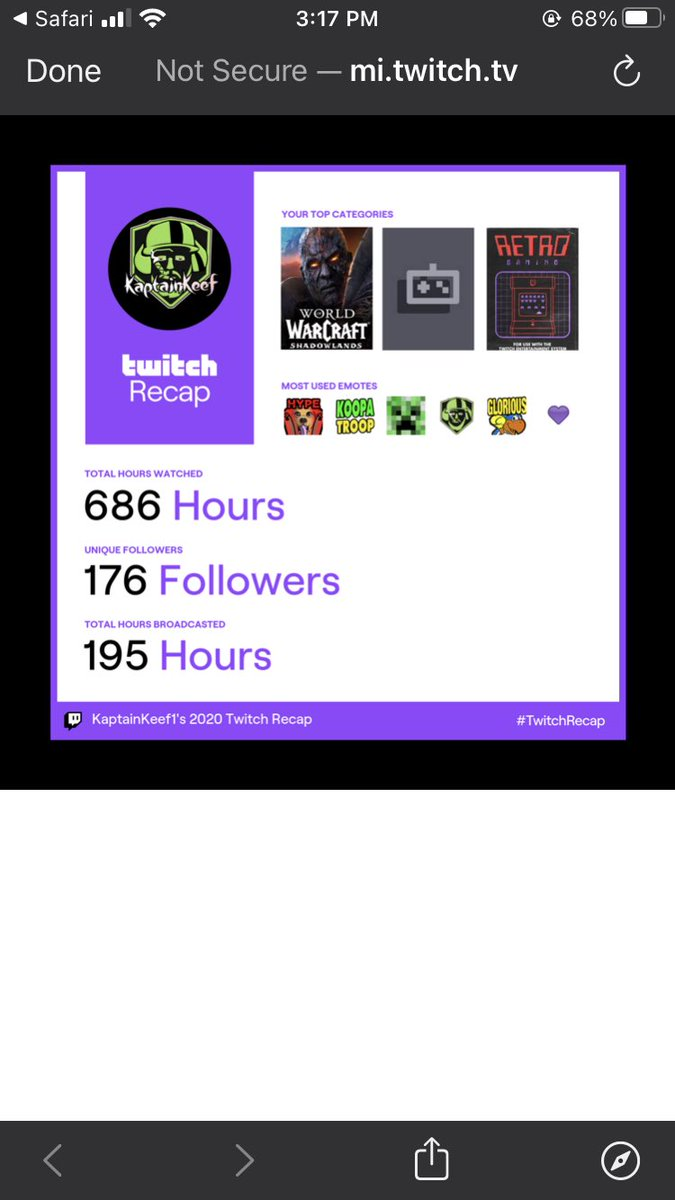 Here's the Kaptain's #TwitchRecap. Had a great 2020 but there's definitely room for improvement so let's make 2021 even better and keep growing this community #OneKeefheadataTime      #SmallStreamerCommunity #twitch @sme_rt @CCG_RTs