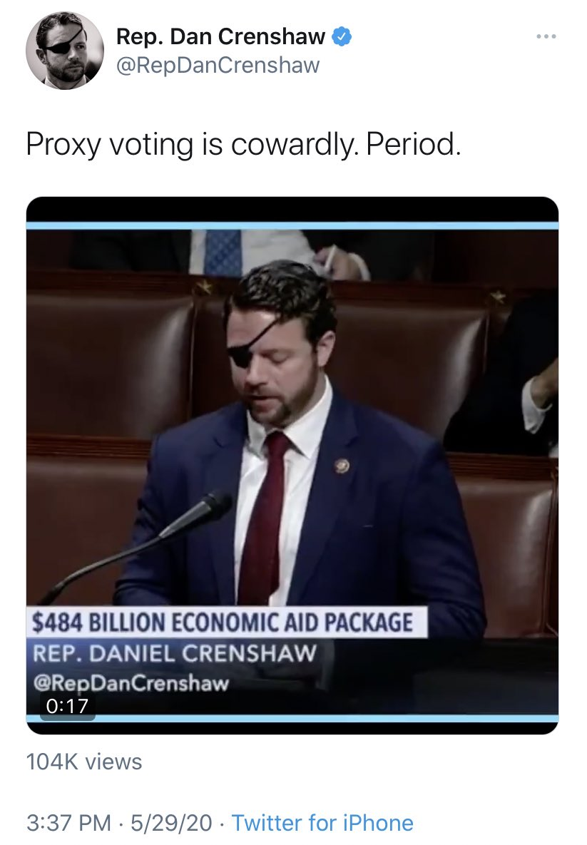 "#DonaldTrump supporter #DanCrenshaw said ""#proxyvoting is cowardly; period""; the #Texas #Republican who represents 2nd House district  then courageously voted by proxy against the resolution to #ImpeachTrump... #MAGA #hypocrisy"