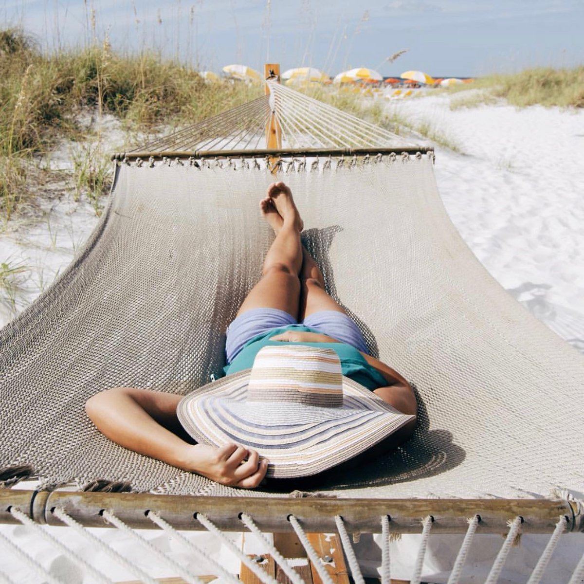 It's #NationalHatDay, and you'll find us under this one, taking a mid-afternoon nap at the @SandpearlResort on Clearwater Beach! 😴☀️🌴 #SandpearlResort #ClearwaterBeach