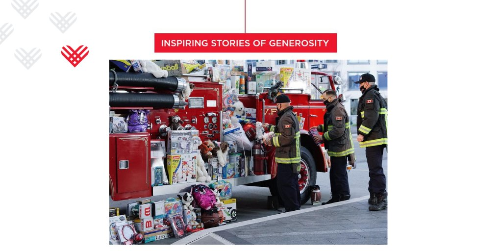 Vancouver firefighters organized a toy drive and delivered over $70,000 worth of toys for kids as a part of the generosity happening across the country through @GivingTuesdayCa #GivingTuesdayCA