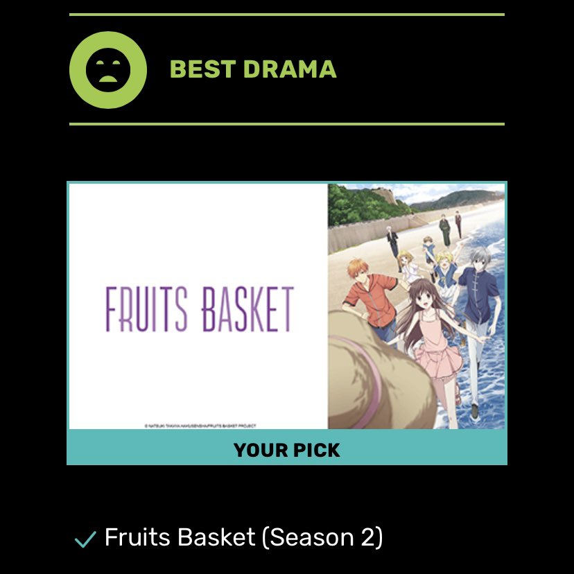 anyways, remember to vote for fruits basket for clear skin #AnimeAwards ♡︎