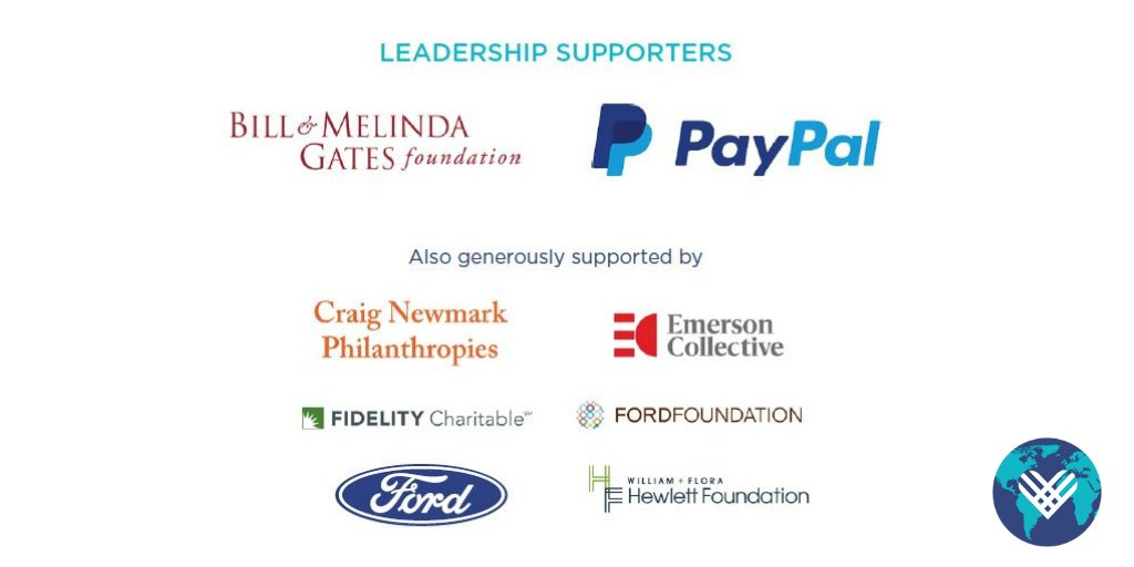 We're so grateful to our long-standing partners @gatesfoundation and @PayPal, as well as generous support from @craignewmark Philanthropies, @EmCollective, @FidelityChrtbl, @FordFoundation, @Ford, @Hewlett_Found