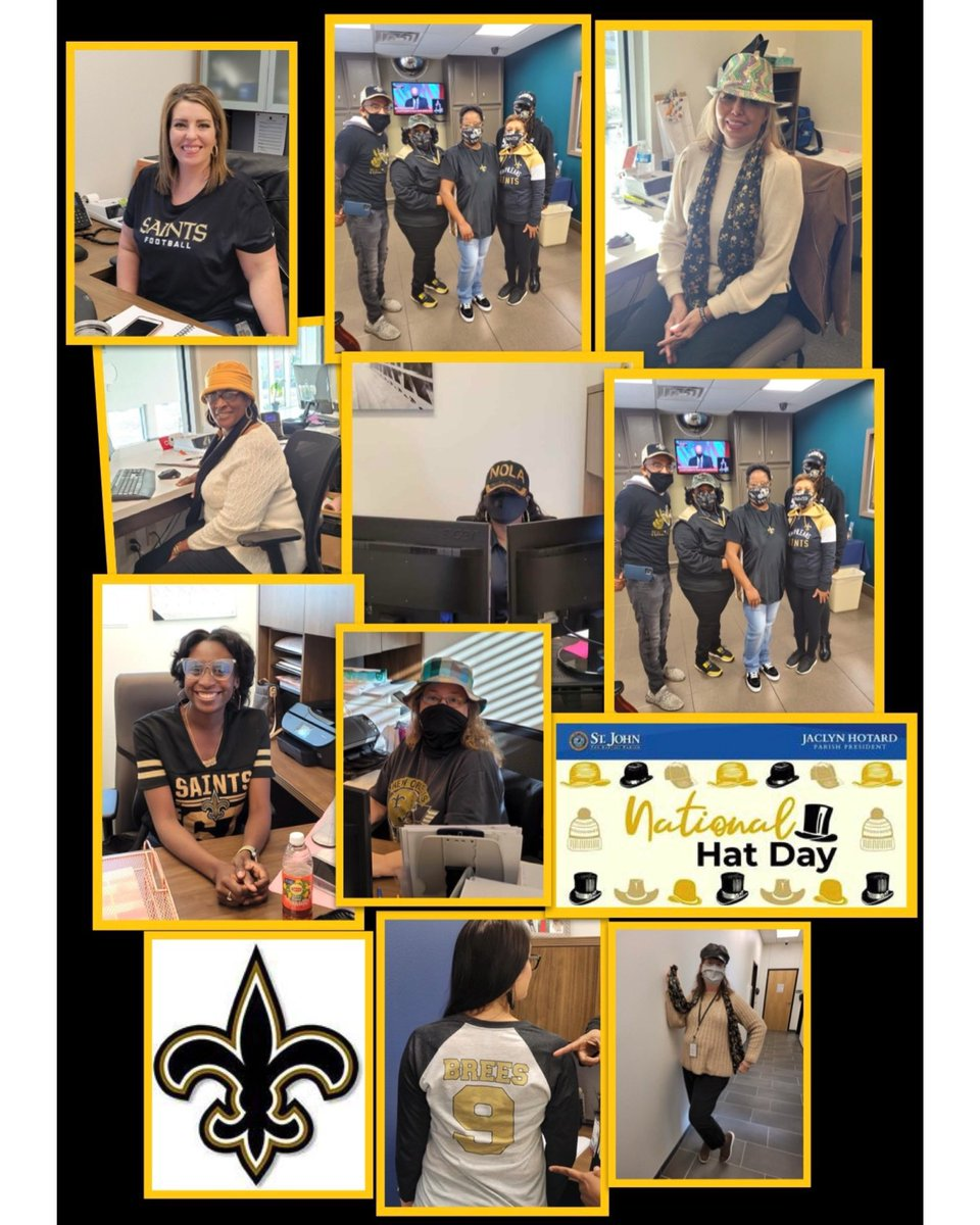 Black and Gold Day meets National Hat Day! 🧢🎩 Bring on the Bucs💪🖤💛⚜️   #ForNOLA #StJohnStrong #Saints #DivisionalRound  #BreesvsBrady #blackandgoldfriday #NationalHatDay  @Saints