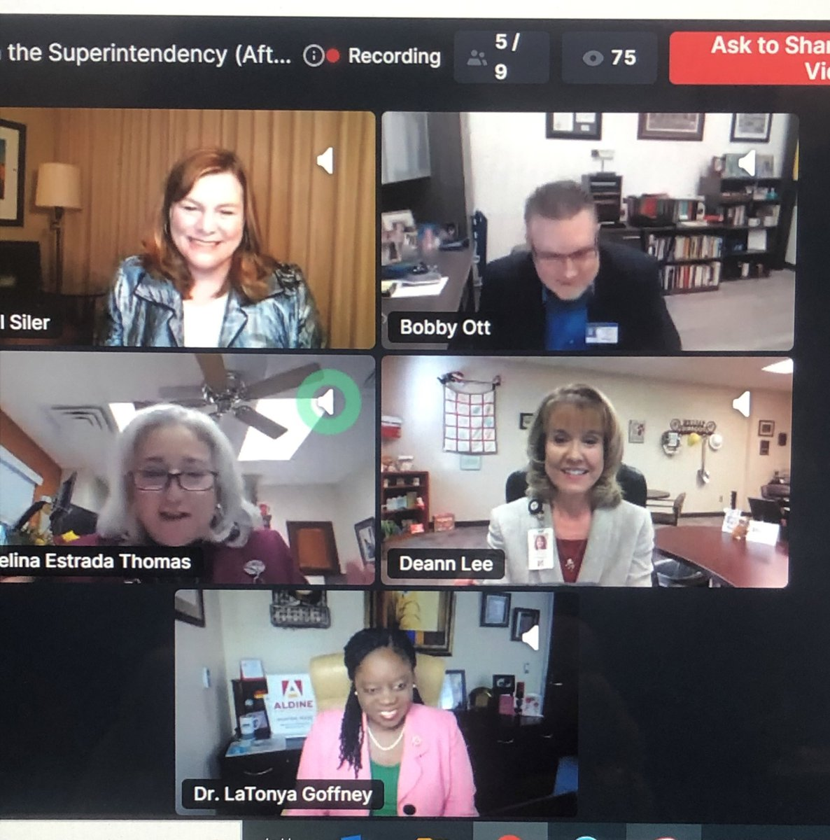 Thank you, @tasanet and Dr. @jillmsiler for the opportunity to share the virtual stage with amazing Texas superintendents and hopefully inspire and encourage future superintendents. #InspiringLeaders #LeadershipMatters