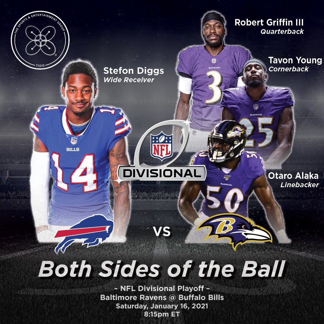 Both sides of the 🏈 Divisional Round Playoff Edition: #versus #verzuz💥 @BuffaloBills NFL Receiving Leader @stefondiggs VS. @Ravens: @RGIII @TY_Real1 @OtaroAlaka! #fantasyfootball #nfl #divisionalplayoffs #covid19 #Bills #Buffalo #Baltimore #Ravens #TSEG #BillsMafia #RavensFlock