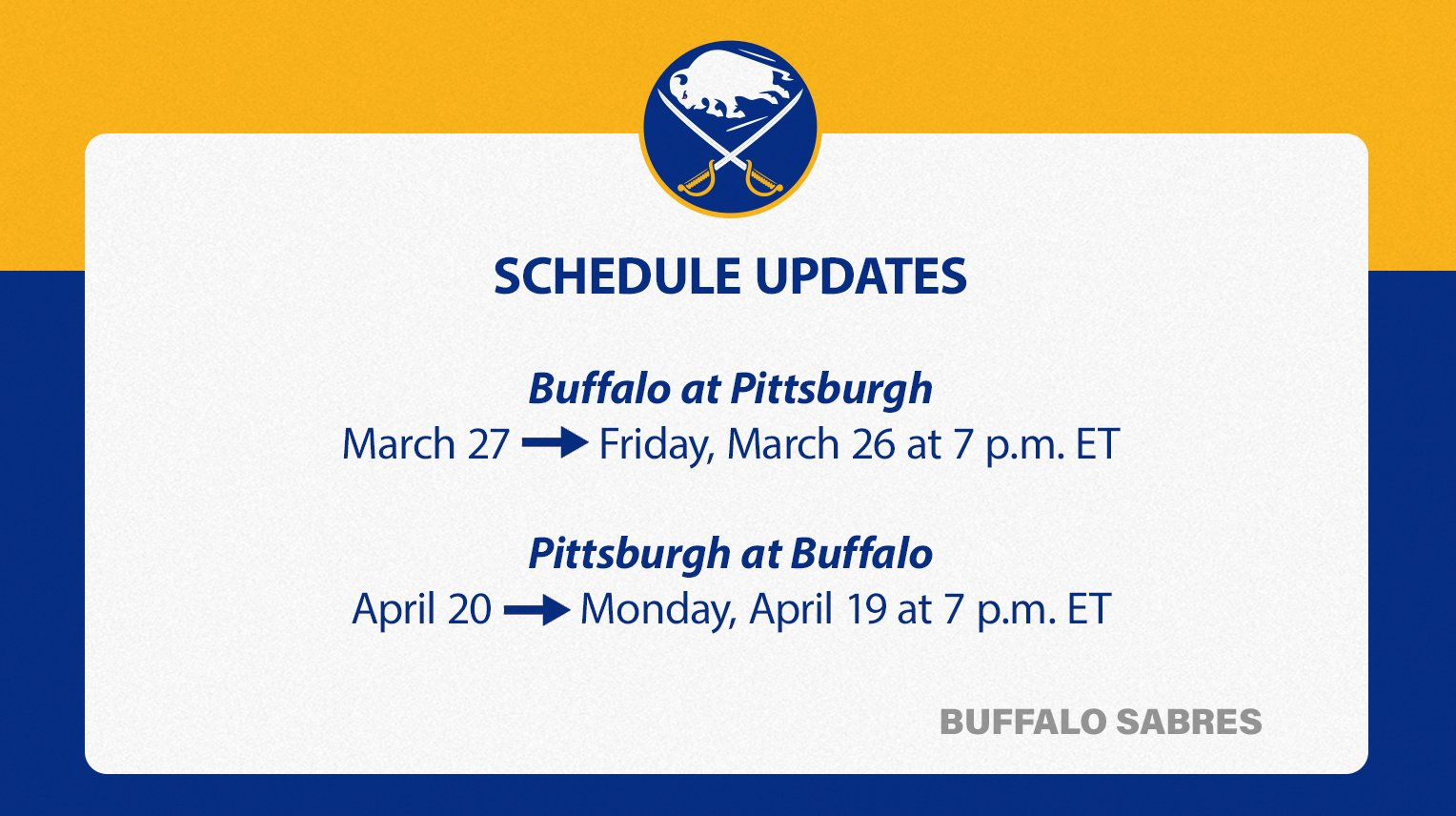 NHL announces date and time changes for pair of Sabres games - fingerlakes1.com