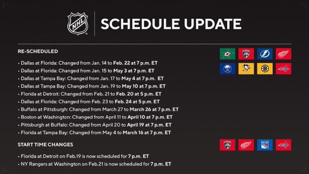 UPDATE: The NHL has re-scheduled 10 games and changed the start times of 2 games. #GoStars will begin their season on January 22.