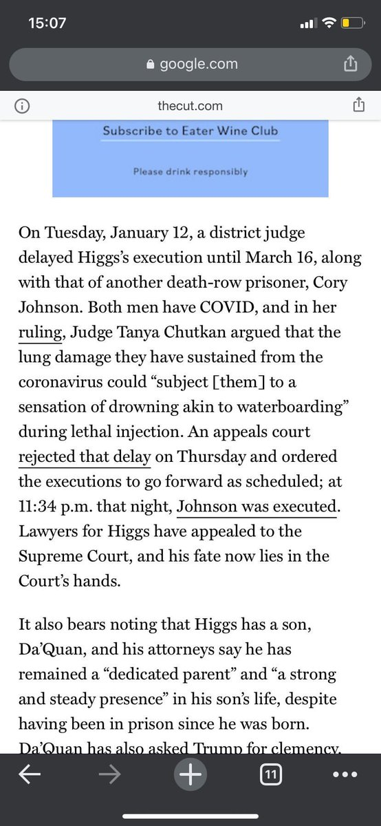 @LauraBurstein1 An appeals court to rejected the delay. The execution is still scheduled for Higgs tonight. Johnson was killed last night at 11:34.