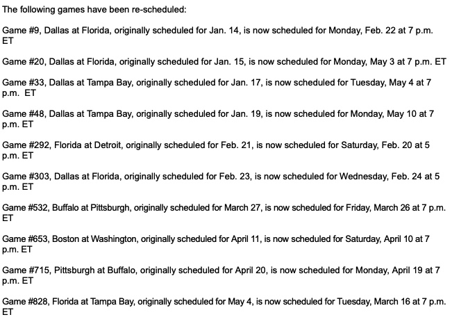Revisions to the Stars' Schedule.