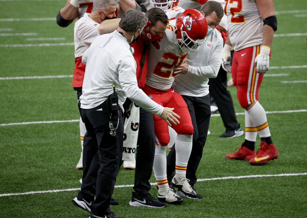 Former LSU star and Chiefs rookie Clyde Edwards-Helaire is listed as questionable for Sunday's game against the Browns with a high ankle sprain.