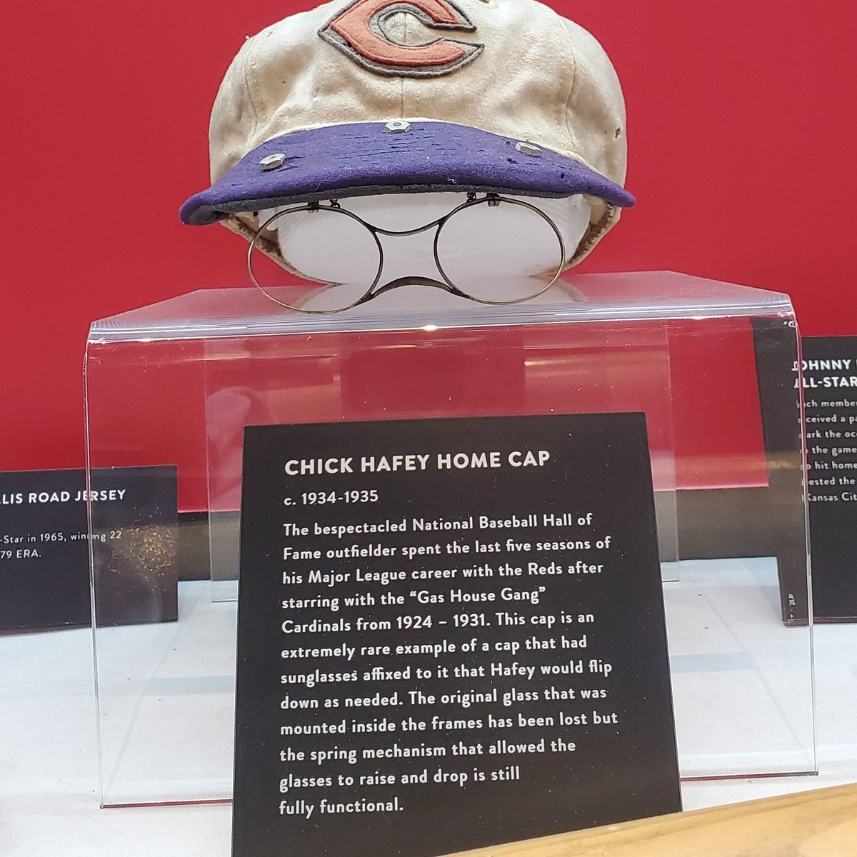 This hat is tops for me in the museum on #NationalHatDay. Chick Hafey altered his hat back in the 30's by adding flip-down sunglasses. Notice the crude, but effective, design. #original.