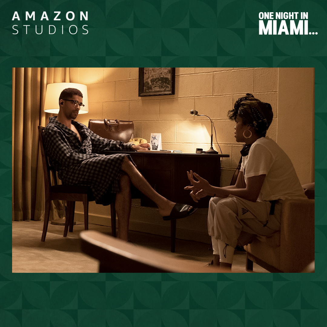 Dir. Regina King prepares Kinglsey Ben-Adir for one of the most monumental scenes in the film One Night in Miami... Streaming now on @PrimeVideo.