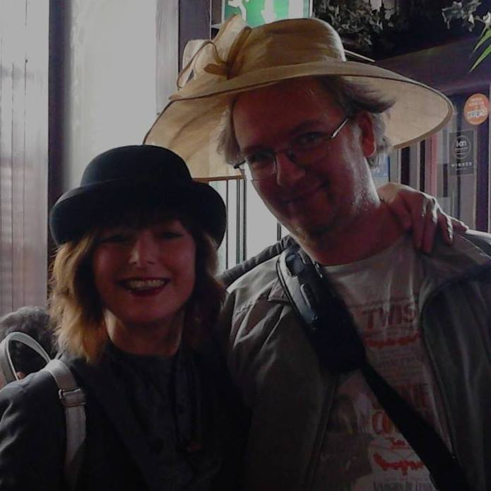Apparently it's #NationalHatDay so here are Mr Crayons and my good self wearing chapeaus supplied by Roseleaf Bar Cafe. @Roseleafbarcafe (they line the walls with them) I miss their Eggs Benedict with wilted spinach very much.