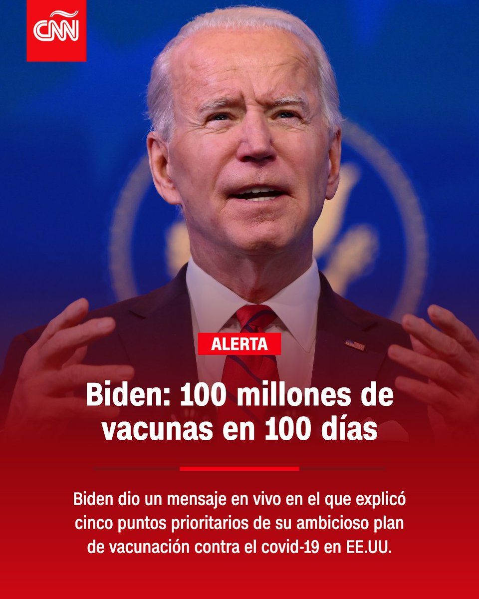 El presidente electo Joe Biden promete que se vacunarán hasta 100 millones de estadounidenses en 100 días.
