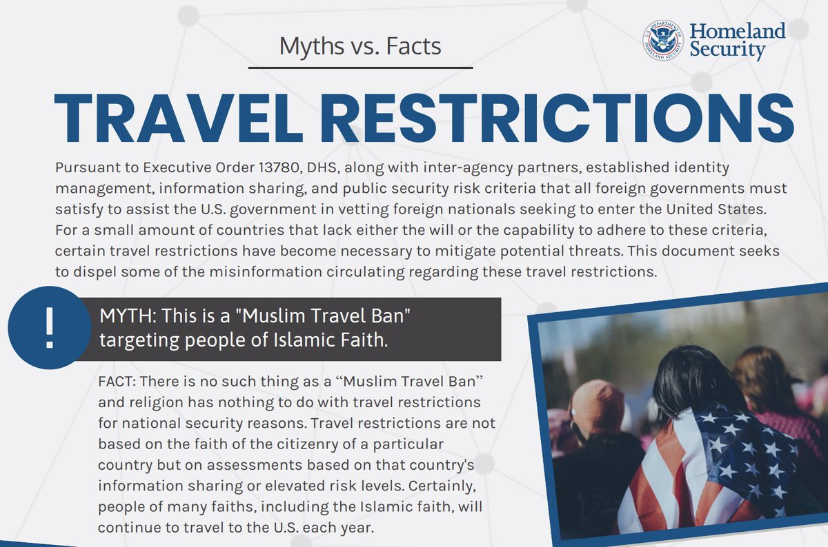 """DHS put out a """"myths vs. facts"""" for the travel ban.   The document says that there is no such thing as a """"Muslim travel ban.""""   The initial travel ban targeted only Muslim-majority countries and came after Trump said he wanted to ban Muslims."""