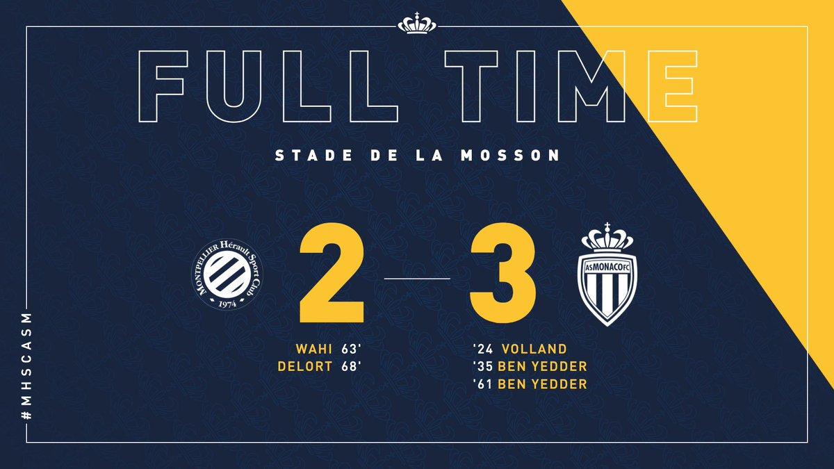 C'est terminé à la Mosson ! 🙅♂️ Les Monégasques se sont fait peur en deuxième période mais repartent de Montpellier avec 3 points très importants. Bien joué les gars 👊👏 #MHSCASM
