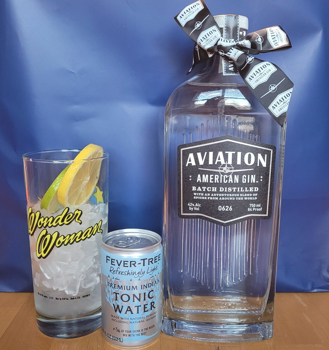 Having my first gin and tonic ever tonight.  Glad it could be yours @VancityReynolds @AviationGin and double thanks for the sweet hair tie with ribbon! I'm wearing that shit tonight.  #ginandtonic