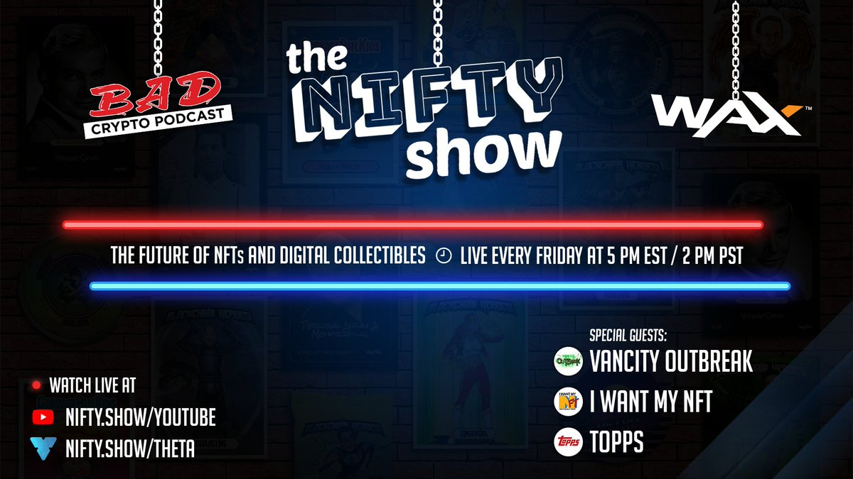 The Nifty Show is back with a packed show featuring the second series of @whiplashnews247, the creators of the upcoming documentary @IWantMyNFT and a BIG announcement from @ToppsDigital! Join us live at 5 pm EST / 2 pm PST at https://t.co/Sutn7gAyMf / https://t.co/6pktuspmZd #NFT https://t.co/RCN7PT7s7N