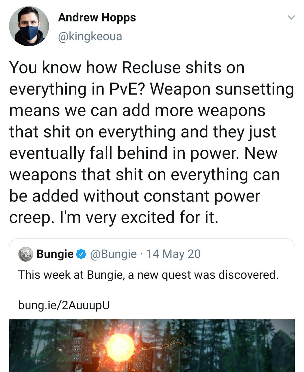 """This Tweet from a Bungie Dev is one of the main reasons I thought Sunsetting might actually work.  But if we don't get these weapons that """"sh*t on everything"""" REALLY SOON...  ...I'm off the sunsetting train for good."""