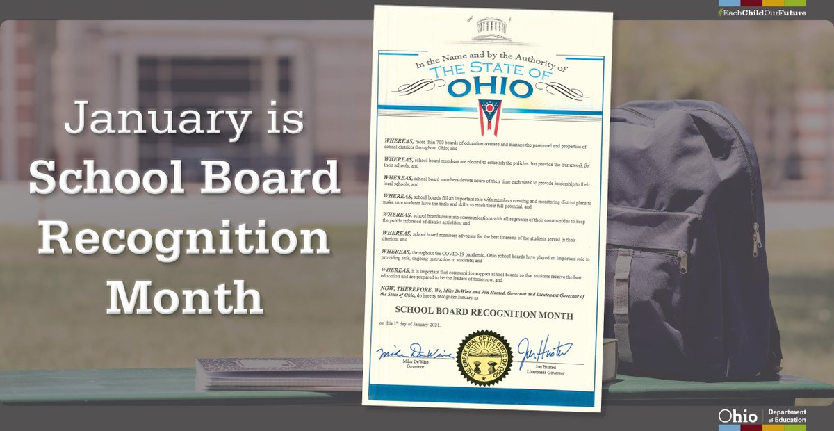 January is #SchoolBoardMonth and the perfect time to share gratitude with Ohio's local school board members. We appreciate their work on behalf of school staff members, students, families, and communities. Thank you for building the future of public education. #InThisTogetherOhio