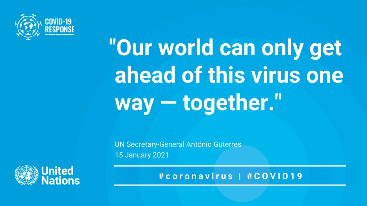 """Global solidarity will save lives, protect people and help defeat this vicious virus.""  As we remember the more than two million people who lost their lives to #COVID19, @antonioguterres urges the world to come together to overcome the pandemic."