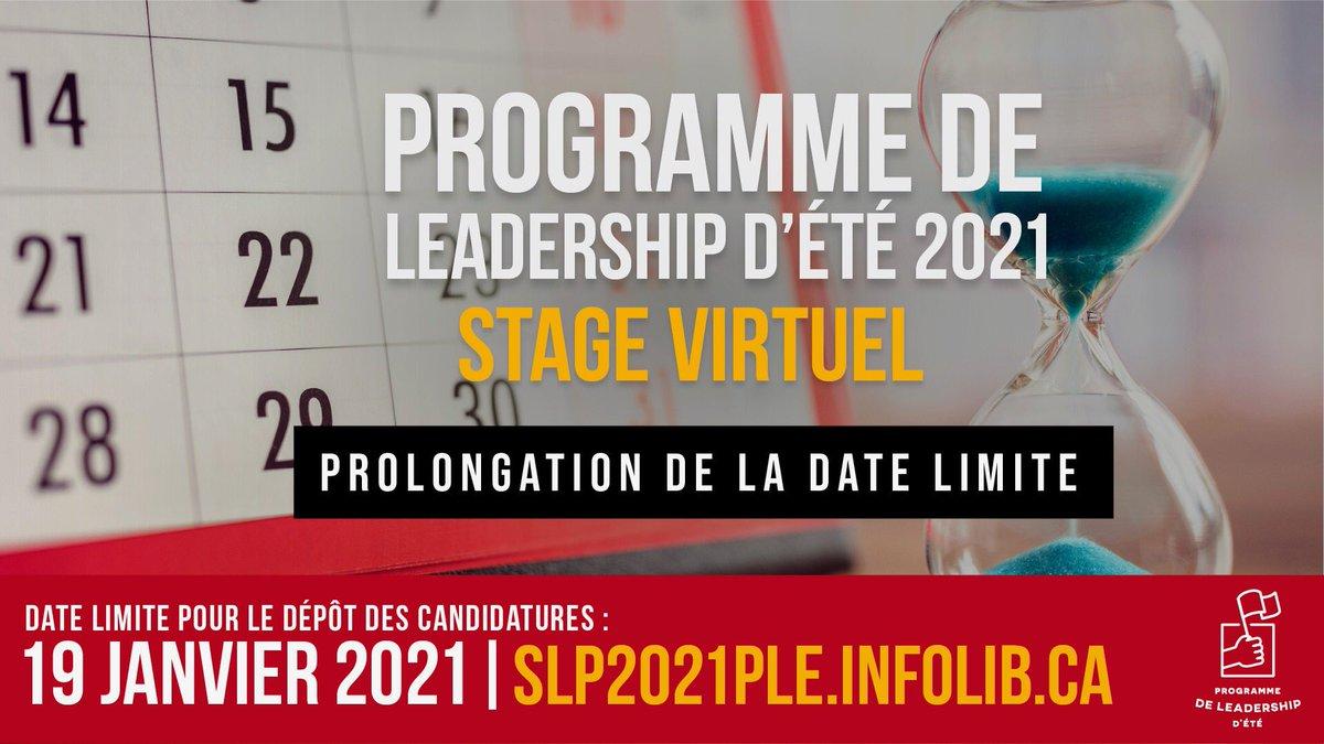 On a prolongé la période de dépôt de candidatures pour le Programme de leadership d'été! Si vous êtes un jeune leader qui veut changer les choses, vous pouvez maintenant postuler jusqu'au mardi 19 janvier. Cliquez ici pour les détails et pour postuler :