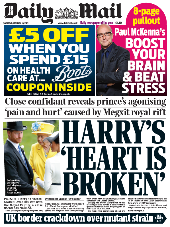 "Saturday's Mail: ""Harry's 'heart is broken'"" #BBCPapers #TomorrowsPapersToday"