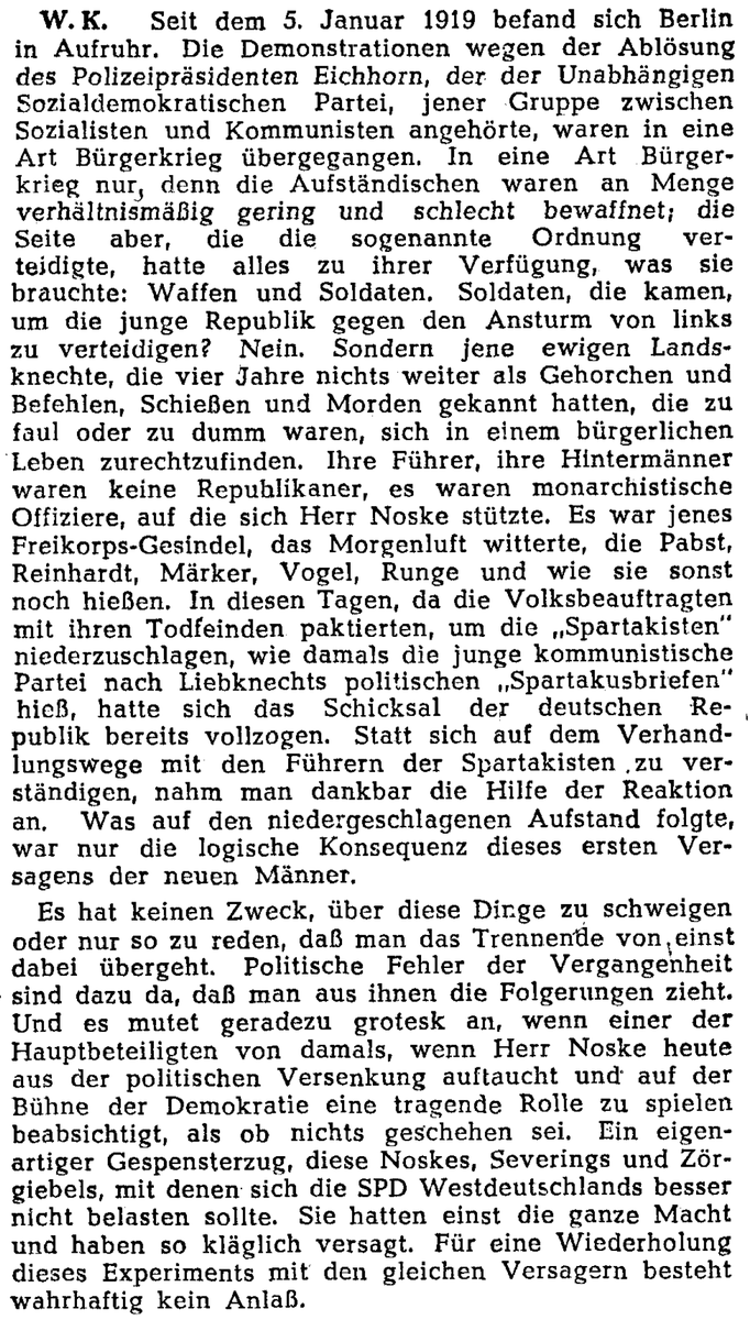 """""""In diesen Tagen, da die Volksbeauftragten mit ihren Todfeinden paktierten, um die 'Spartakisten' niederzuschlagen, ... hatte sich das Schicksal der deutschen Republik bereits vollzogen."""" @Tagesspiegel #OTD 1946 #KarlLiebknecht #RosaLuxemburg #Tagesspiegel75"""