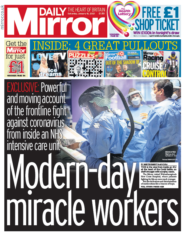 "Saturday's Mirror: ""Modern-day miracle workers"" #BBCPapers #TomorrowsPapersToday"
