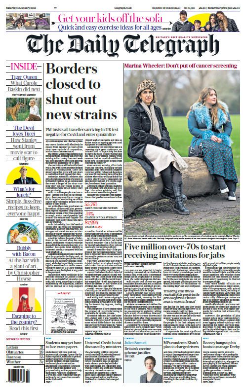 "Saturday's Telegraph: ""Borders closed to shut out new strains"" #BBCPapers #TomorrowsPapersToday"