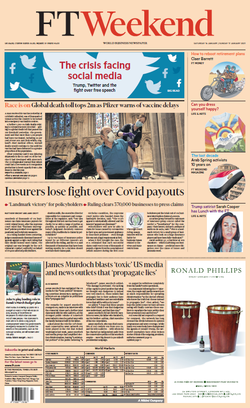 "Weekend's FT: ""Insurers lose fight over Covid payouts"" #BBCPapers #TomorrowsPapersToday"