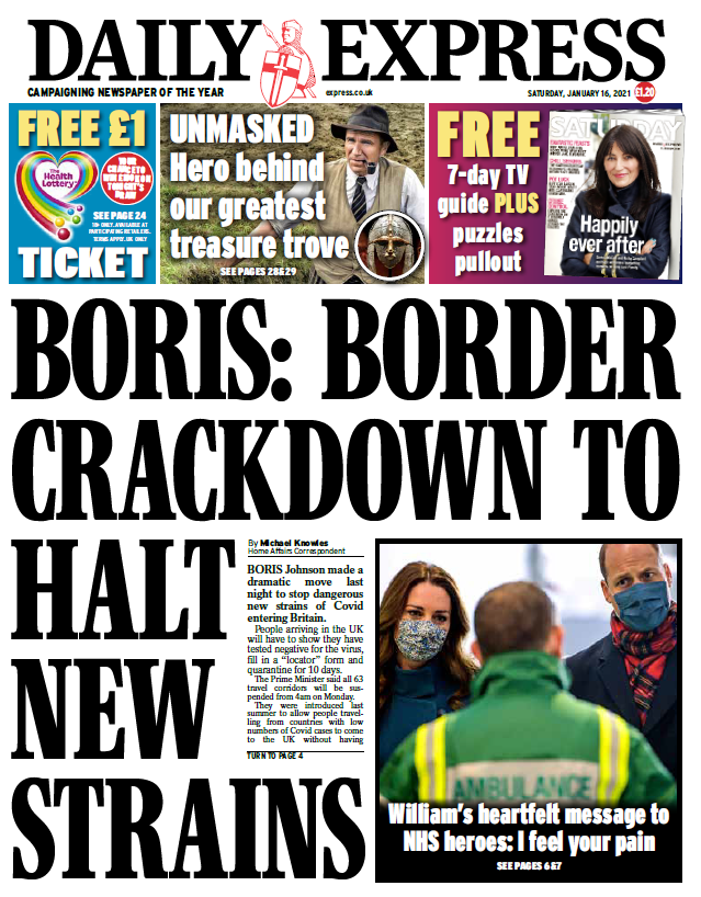 "Saturday's Express: ""Boris: Border crackdown to halt new strains"" #BBCPapers #TomorrowsPapersToday"