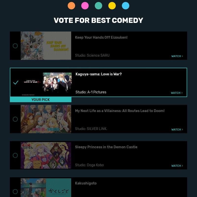 Its AnimeAward time. My votes- Anime of the year -#Jujitsukaisen Best antagonist -#Echidna Best girl- #Chizuru mizuhara Best OP+director+comedy - #KaguyaSama Best couple -Shinomiya+Shirogane Best fantasy -#Rezero s2 #AnimeAwards #Crunchyroll #Anitwt  #Vote  Go vote till January2