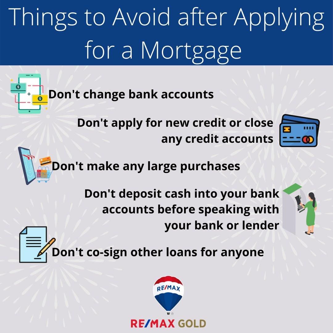 There are a few key things to make sure you avoid after applying for a mortgage to help make sure you still qualify for your loan at the closing table. #holidayseason #californiarealestate #davidhealeyhomes #ReMaxGold #realtor #realestateagent #igers #home #property #trend