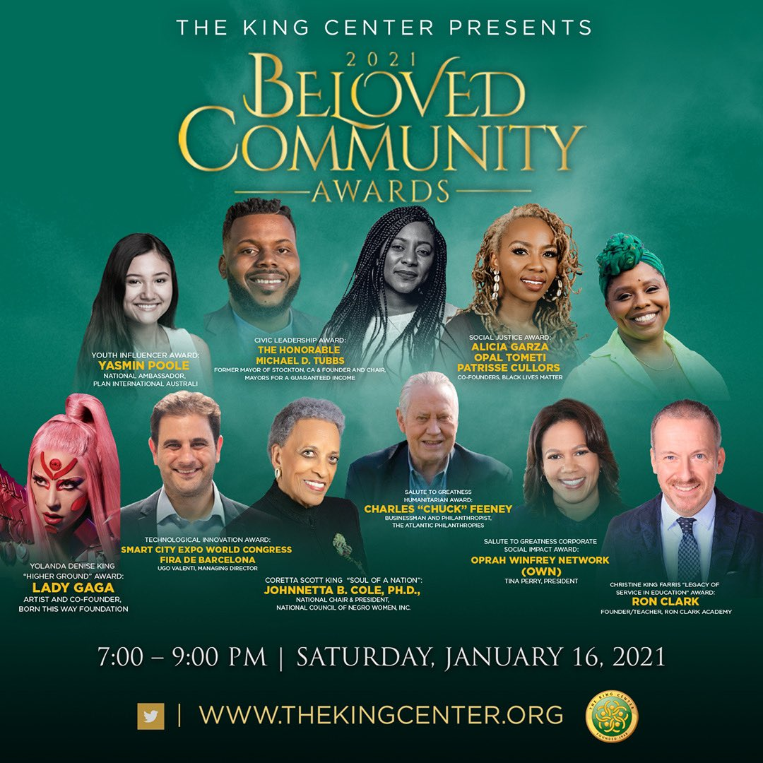 Streaming here, Facebook,  TOMORROW, 7pm ET. Tune in to our #virtual 2021 #BelovedCommunity Awards, as we honor inspiring activists, influencers and artists, including @LadyGaga @owntv @opalayo @chasinggarza @osopepatrisse @yasmin_poole @michaeldtubbs. #MLK