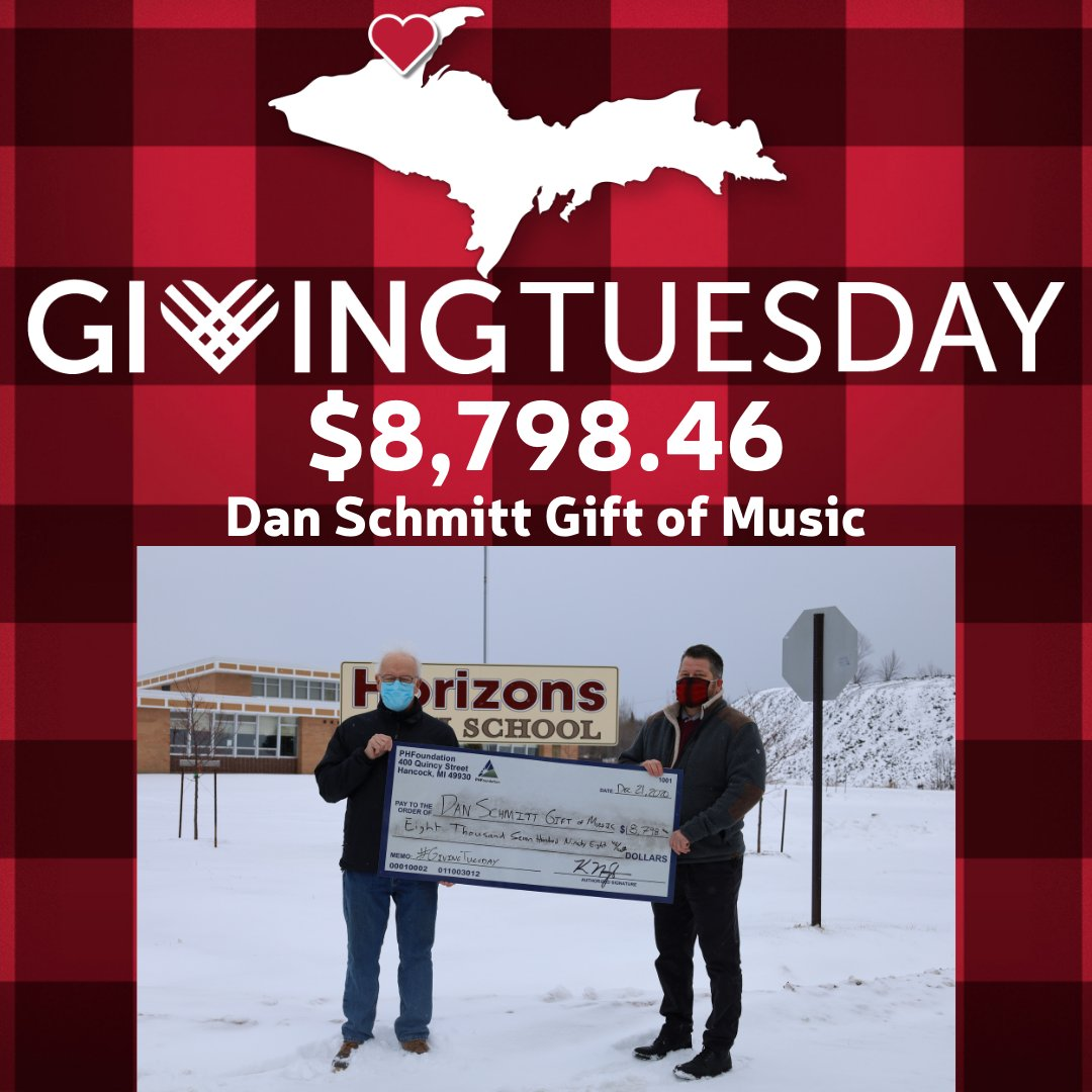 The Dan Schmitt Gift of Music had another great year with #GivingTuesday! They raised $8,798.46 for their incredible music and outdoor programs. Learn more about them at . #Give906 #CopperCountryStrong