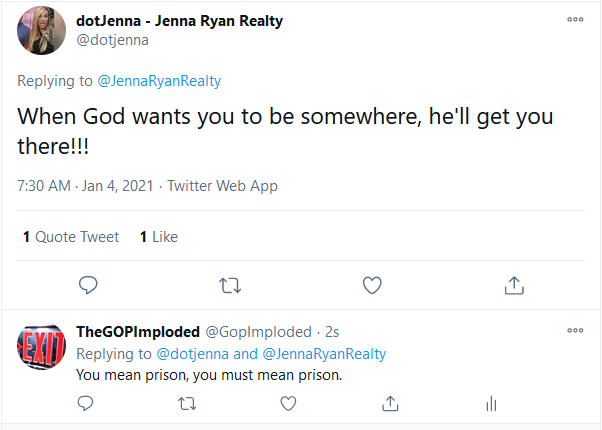 @BigDfromCinci Jenna Ryan couldn't have said it better, the FBI arrested her today for her insurrection into the US Capitol. Sounds like God is coming for #Boebert next..