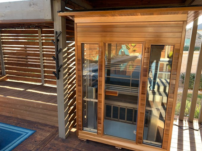 Whoopee, my husband just finished building our new Infared Sauna.  iI'm ready to sweat now. https://t