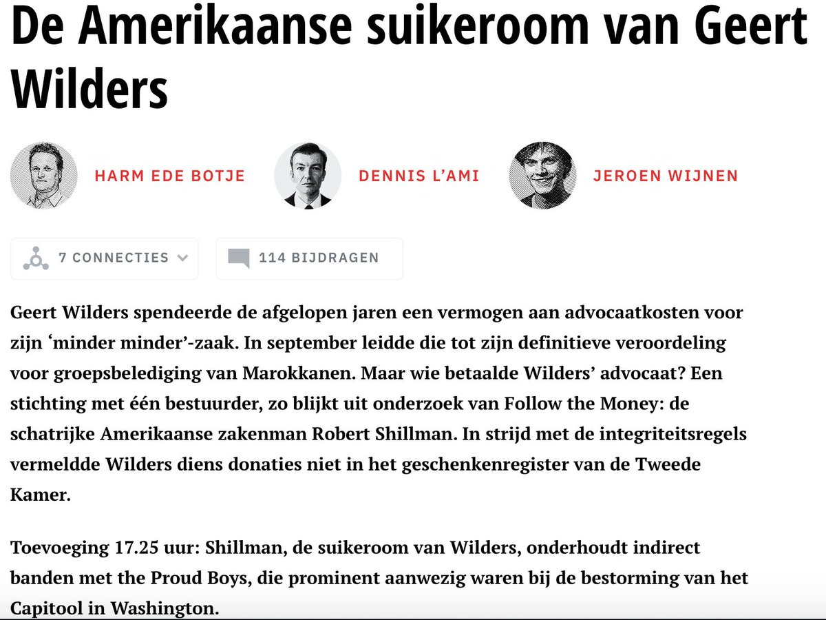 Meer dossier Pete Hoekstra: werd evenals Geert Wilders en Tommy Robinson gesponsored door Robert Shillman (Vrij Nederland 2-1-18; The Intercept 1-8-17; wikipedia; google: