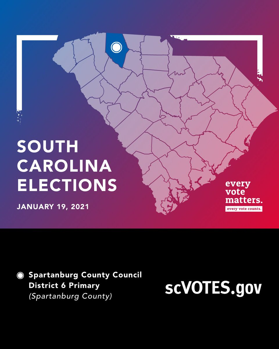 📣 Hey, #Spartanburg County! It's #ElectionDay on Tuesday, January 19.  🗳 Spartanburg County Council District 6 Primary  Find your sample ballot, polling place and more information at . #scVOTES