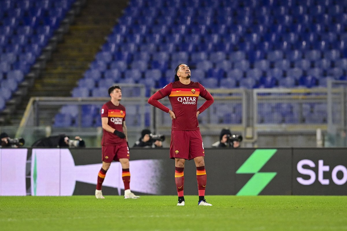 "Smalling: ""That is not a fair reflection of how we have been playing recently. Mistakes led to two of their goals and [that] made the match extremely difficult. But there was still a lot of time to be played.   ""Just pure disappointment tonight. For everyone.""  #ASRoma #LazioRoma"