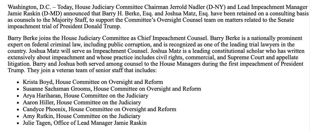 Inbox: House Judiciary has re-hired Barry Berke on a consulting basis to be chief impeachment counsel for the upcoming trial. The full list of staff who will work w/ impeachment managers: