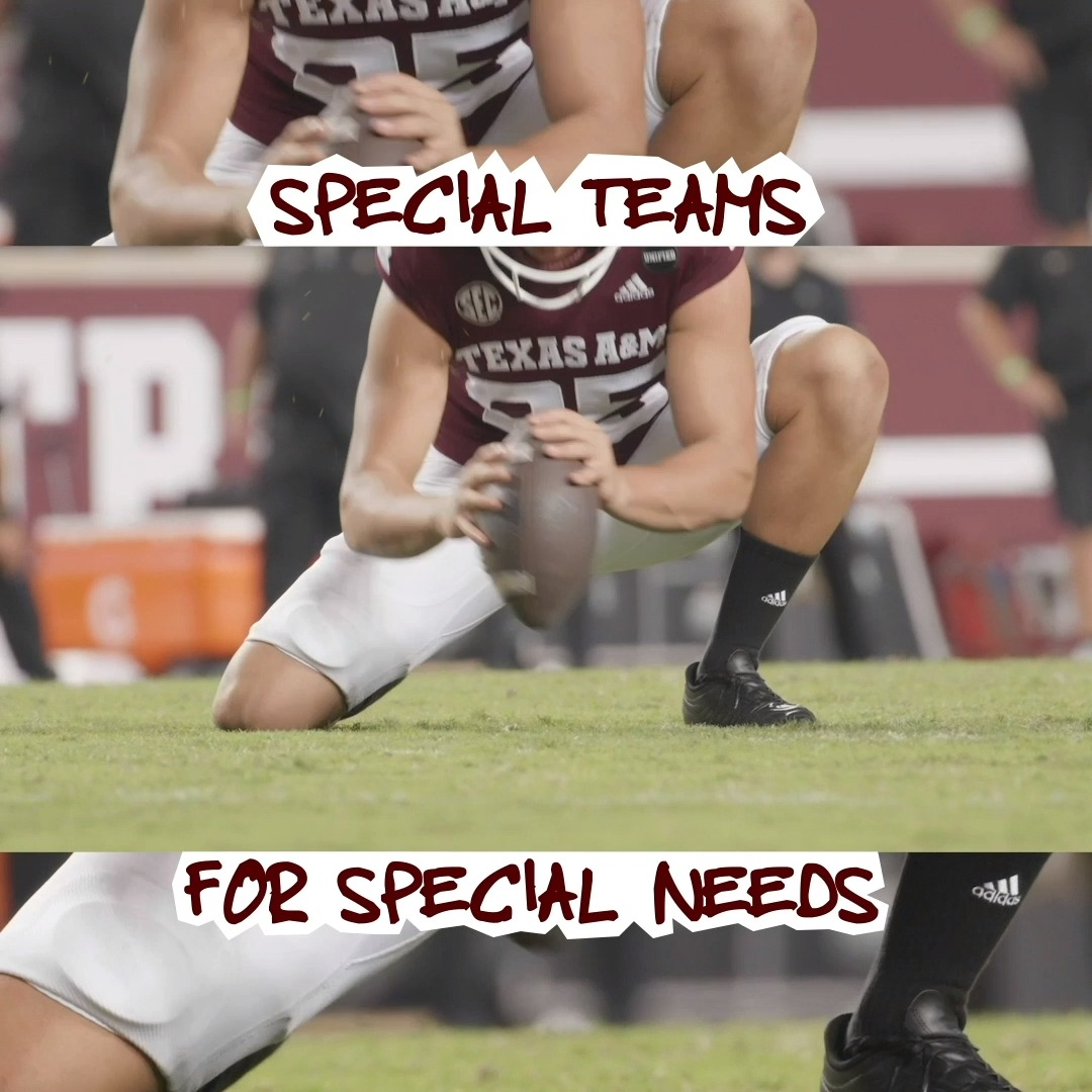 It was a special year for @AggieFootball in more ways than one. All season long, our partner @Mustang_Cat_ made charitable donations to The Brookwood Community with each point scored by our special teams. #GigEm 👍