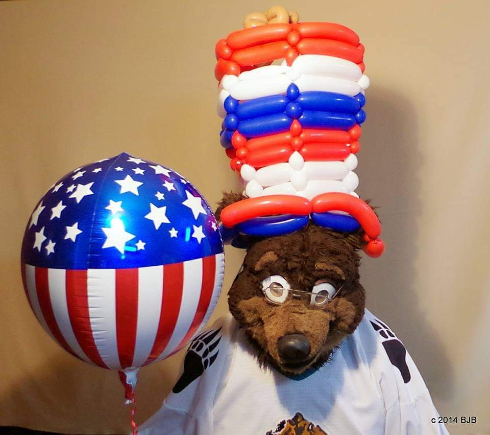 Public #fursuitfriday  Does a #balloon hat count for #nationalhatday ? #Waldolf had one 🙂 #fursuit #fursuiter #fursuiting #bear #costume