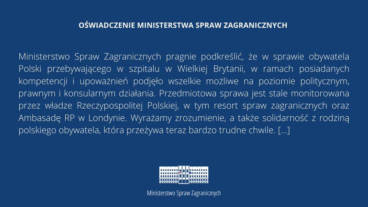Oświadczenie #MSZ w sprawie obywatela Polski 🇵🇱 przebywającego w szpitalu w #Plymouth 🇬🇧 ⤵️   Pełen tekst oświadczenia: https://t.co/FIIqhSybUs https://t.co/yvRRXMYLYb
